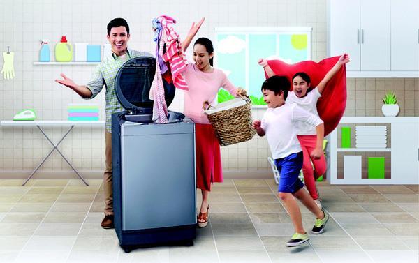 Máy giặt công suất lớn phù hợp với gia đình có trẻ em