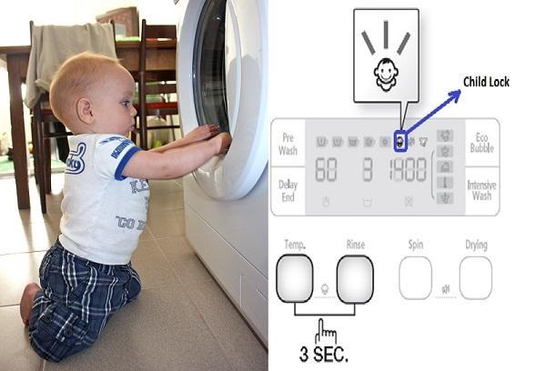 Cách bảo vệ trẻ nhỏ khỏi tai nạn khi dùng máy giặt Aqua