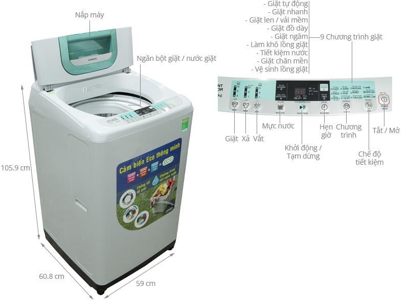 Máy giặt Hitachi SF-80P/ 80PJ 8 Kg