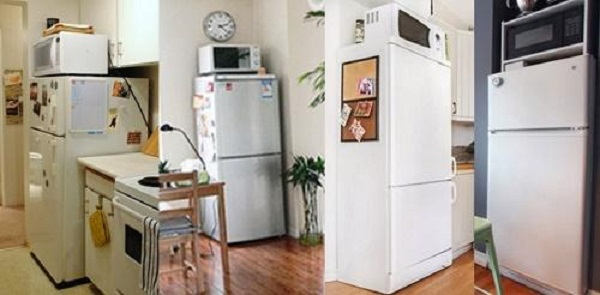 Không nên đặt lò vi sóng trên tủ lạnh