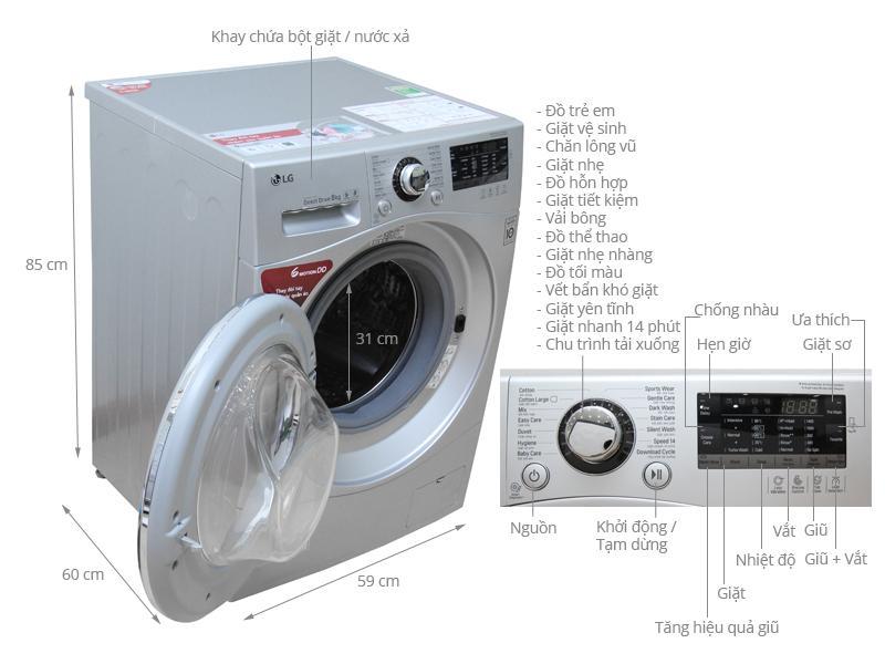 Máy giặt LG với thiết kế tinh tế và nhiều tính năng hiện đại