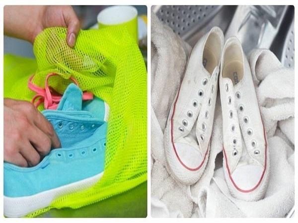 Cho giày vào túi giặt để tránh làm sờn mà mất form dáng của giày