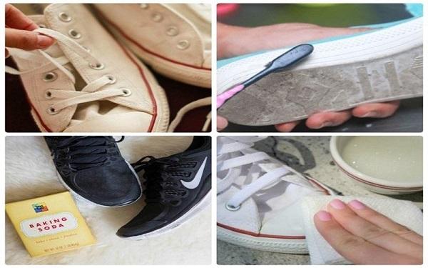 Loại bỏ bụi bẩn trước khi cho giày vào máy giặt